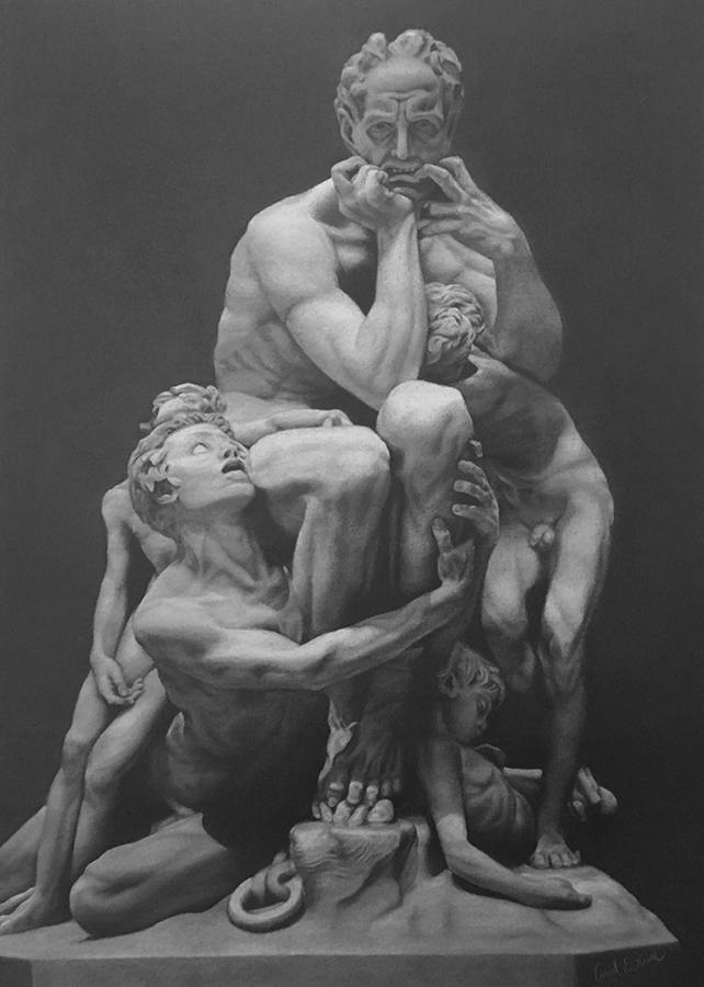 This complex drawing of Carpeaux's sculpture is made up of values and edges.