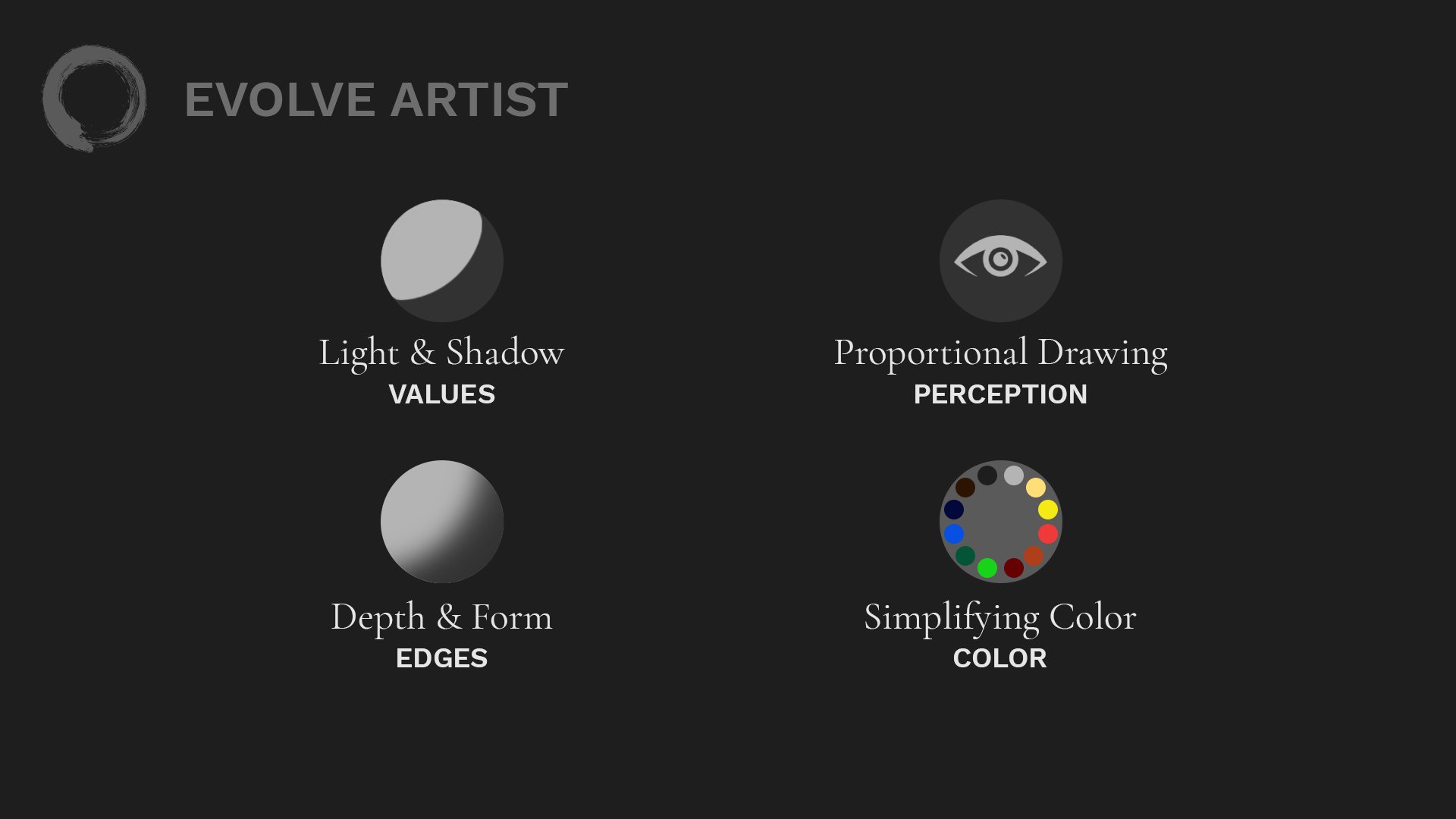 Evolve's Four Fundamentals of Art: Values, Edges, Perception, Color