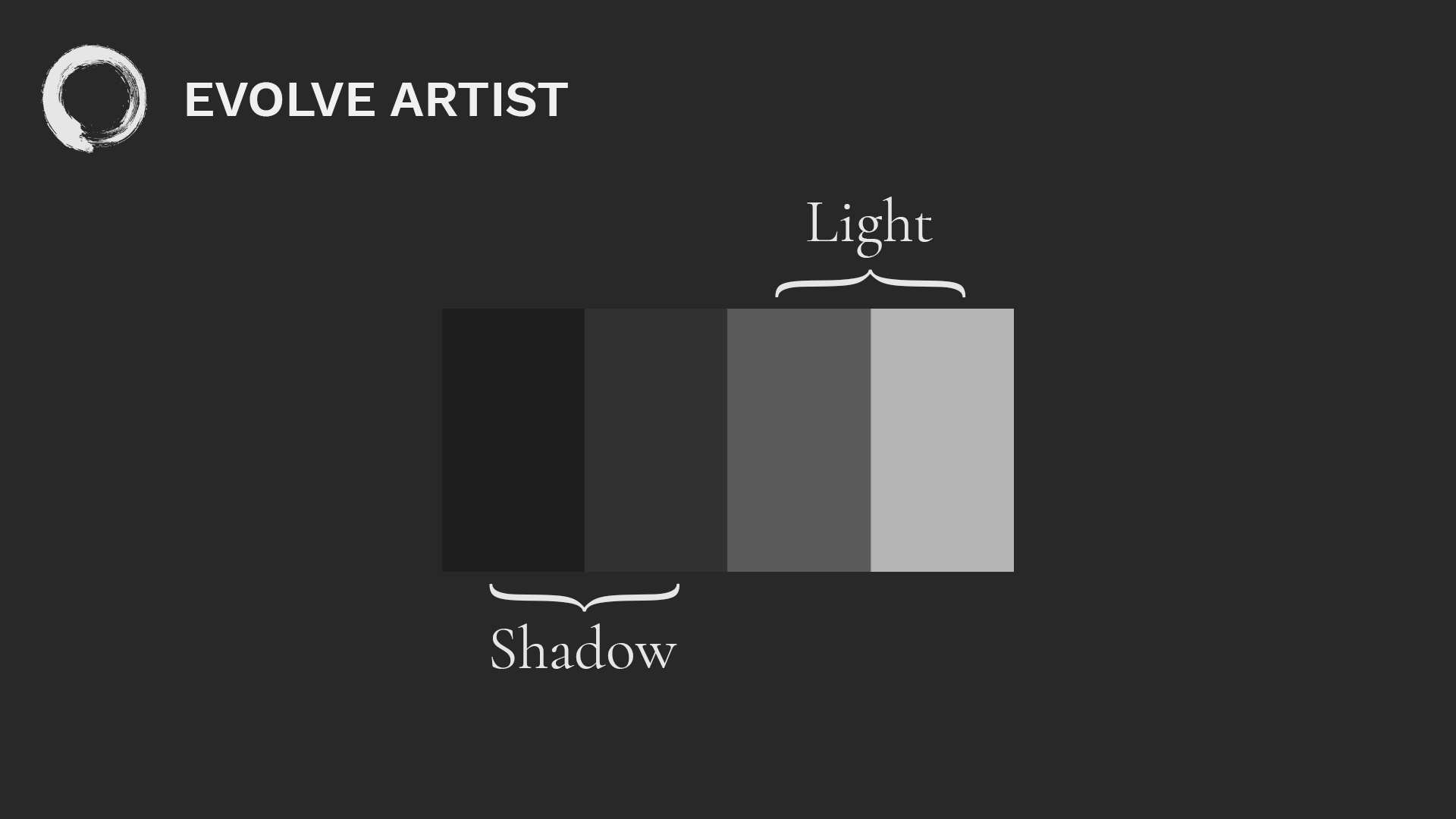 How to paint values using Evolve Artist's four-value scale uses two shadows and two lights.