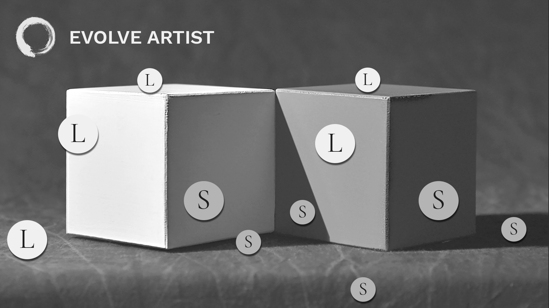Values in image of two cubes simplified using shadows and lights