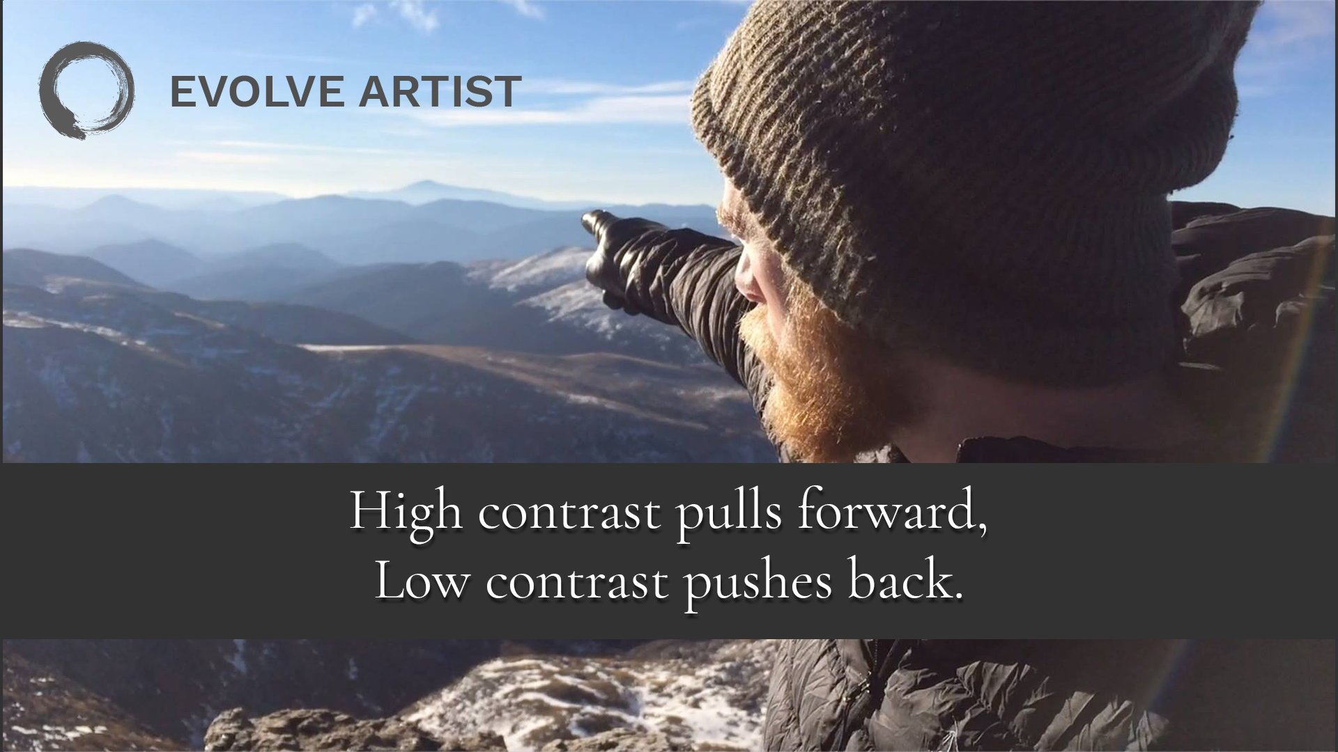 Photo shows that high contrast pulls forward and low contrast pushes back