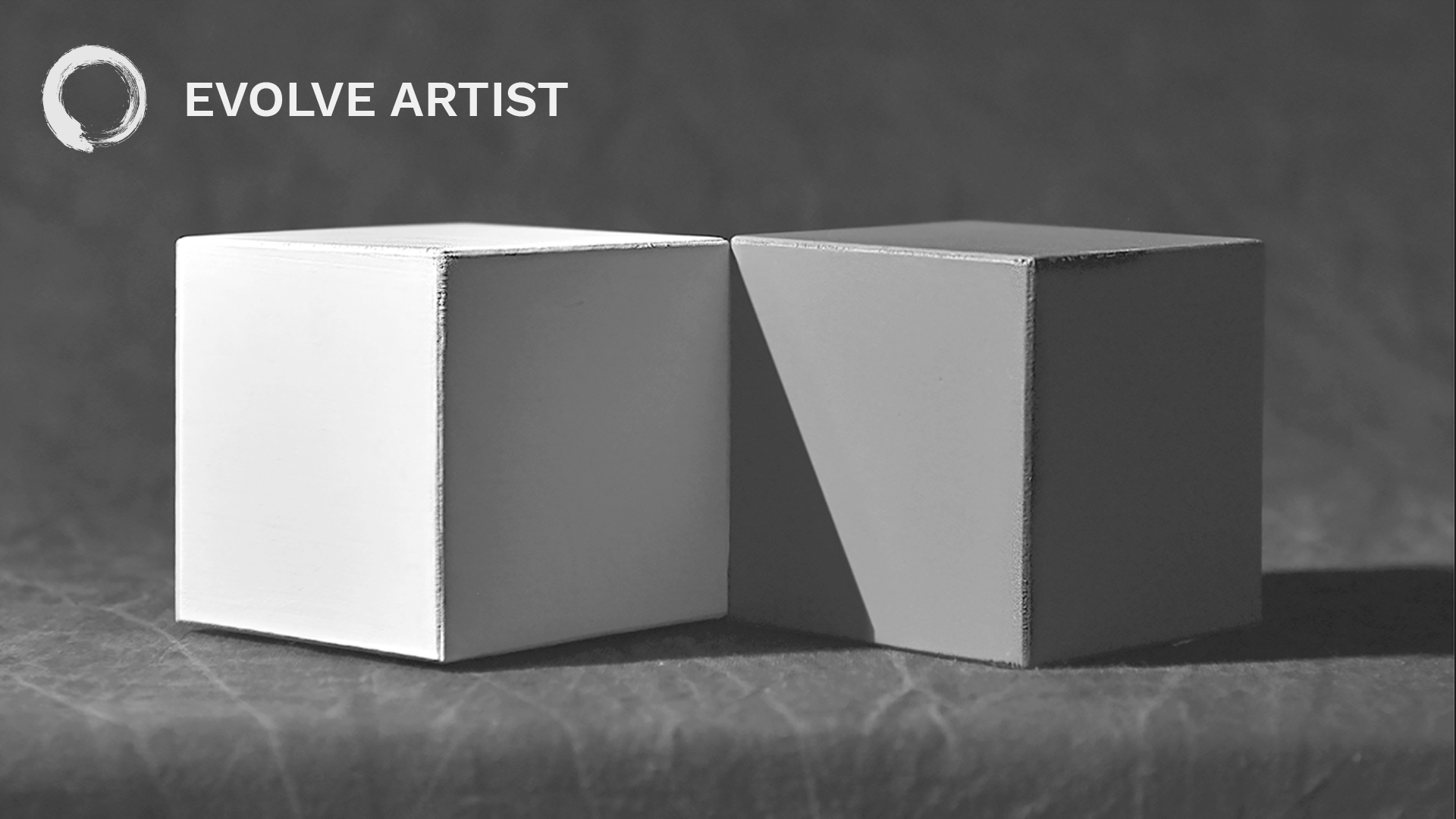 A photo of a white cube and a gray cube depicts values in art.