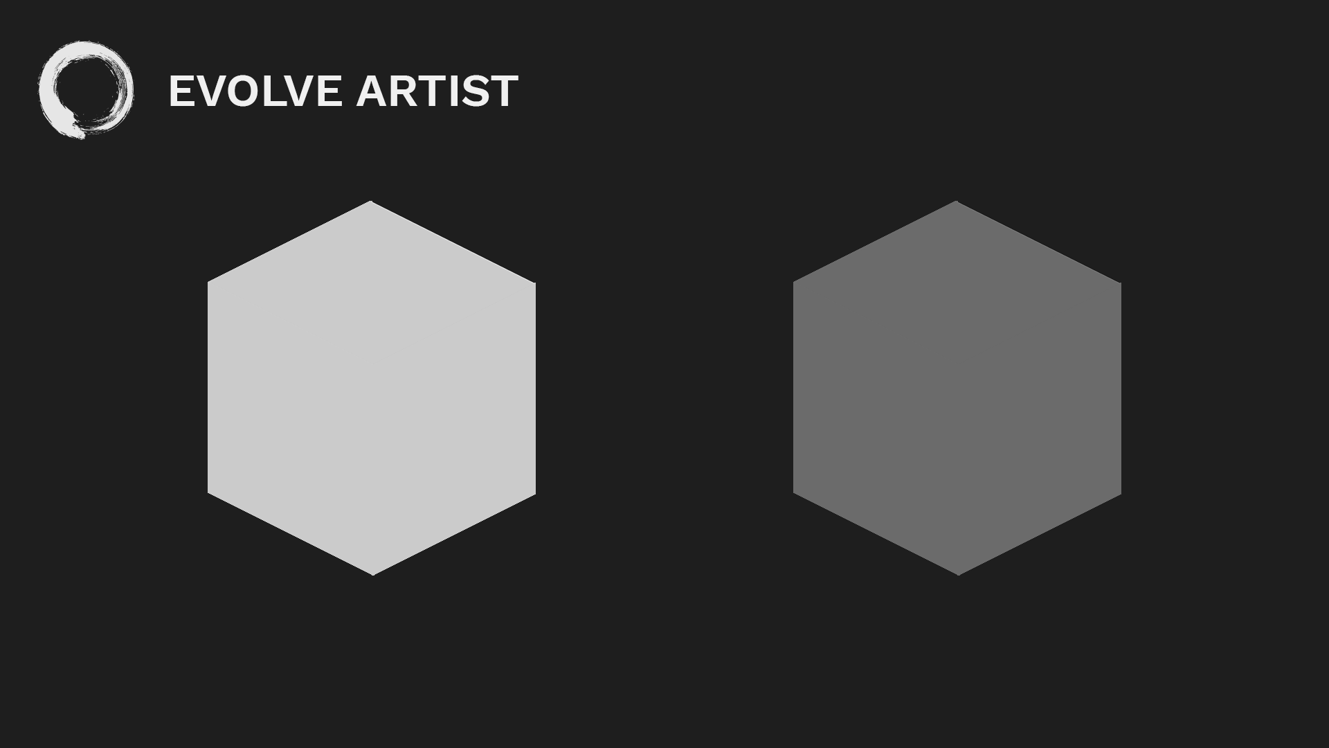 Two gray hexagons: without value, images lack form