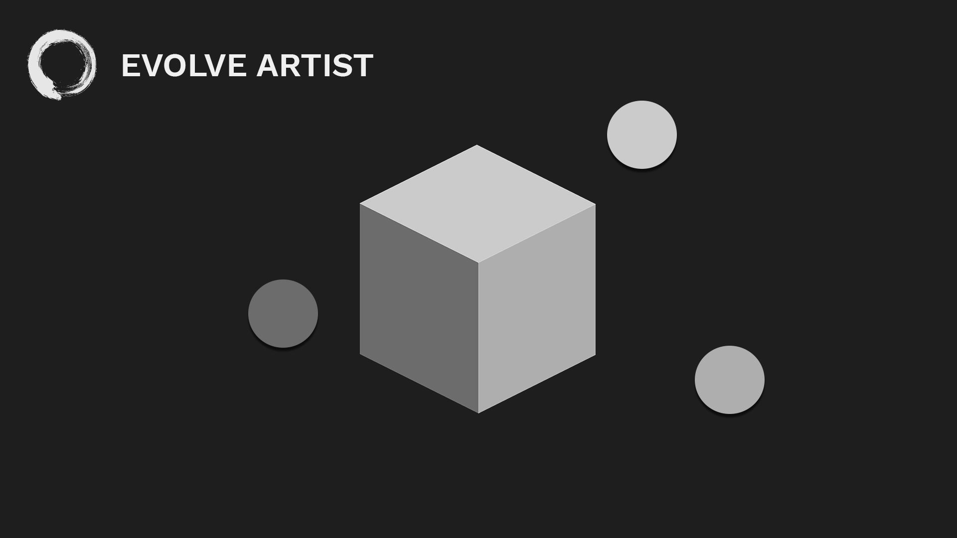 Image of white cube is made up of three values of gray