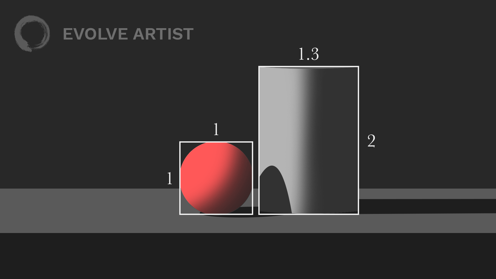Evolve Artist uses relative measurements to practice proportional drawing.