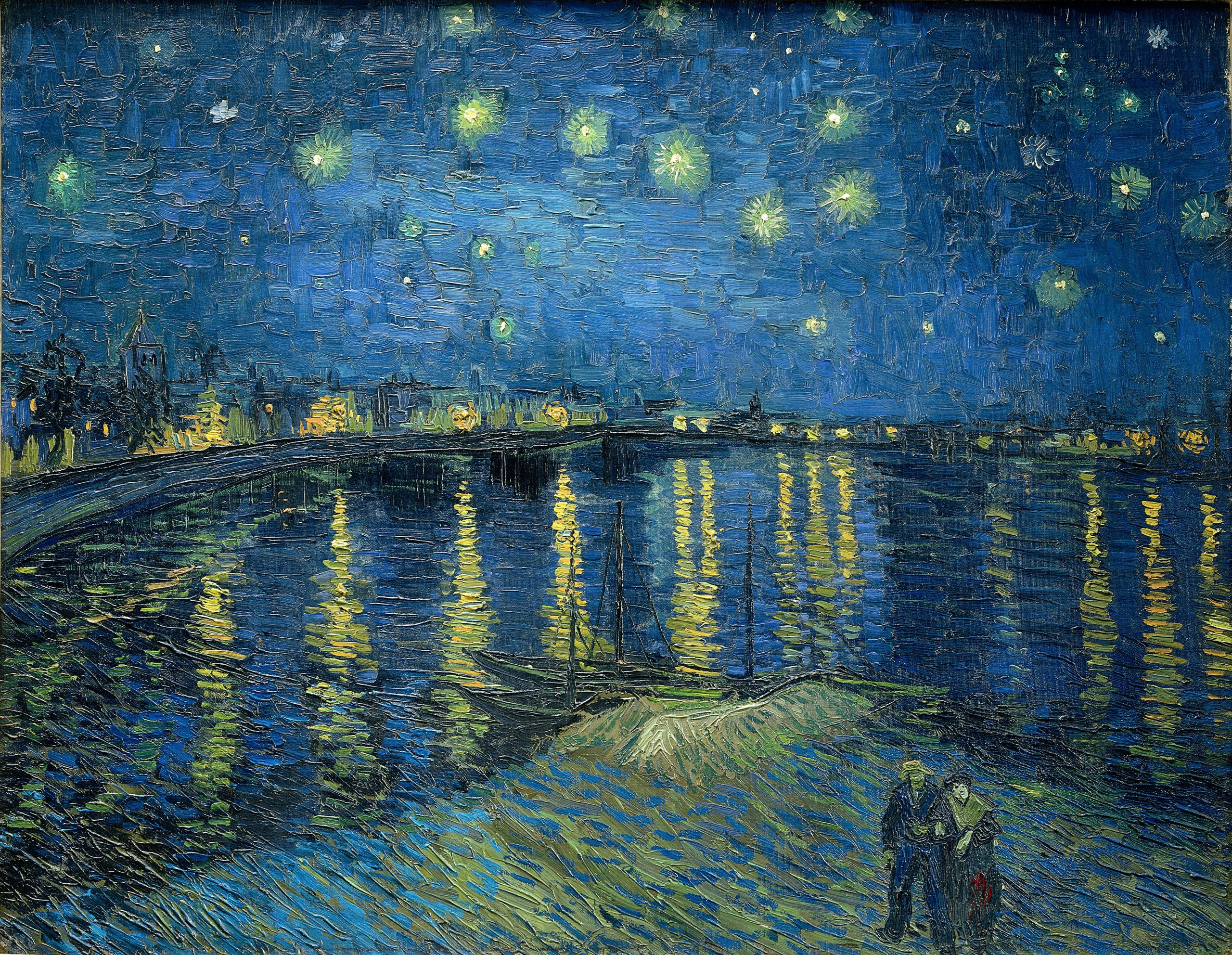 Starry Night Over the Rhone by Vincent van Gogh captures how light can capture movement in a painting.