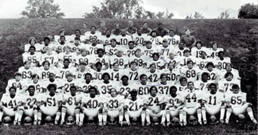 Team Titans, photo from 1972 TC Williams Yearbook. The small and blurry faces from high school yearbooks are still recognizable despite their lack of detail.
