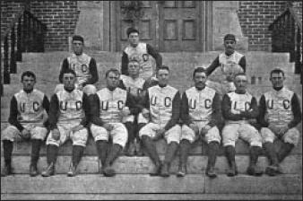 A photo of Colorado's first football team, 1890. The structure of the players' heads make their identities recognizable.