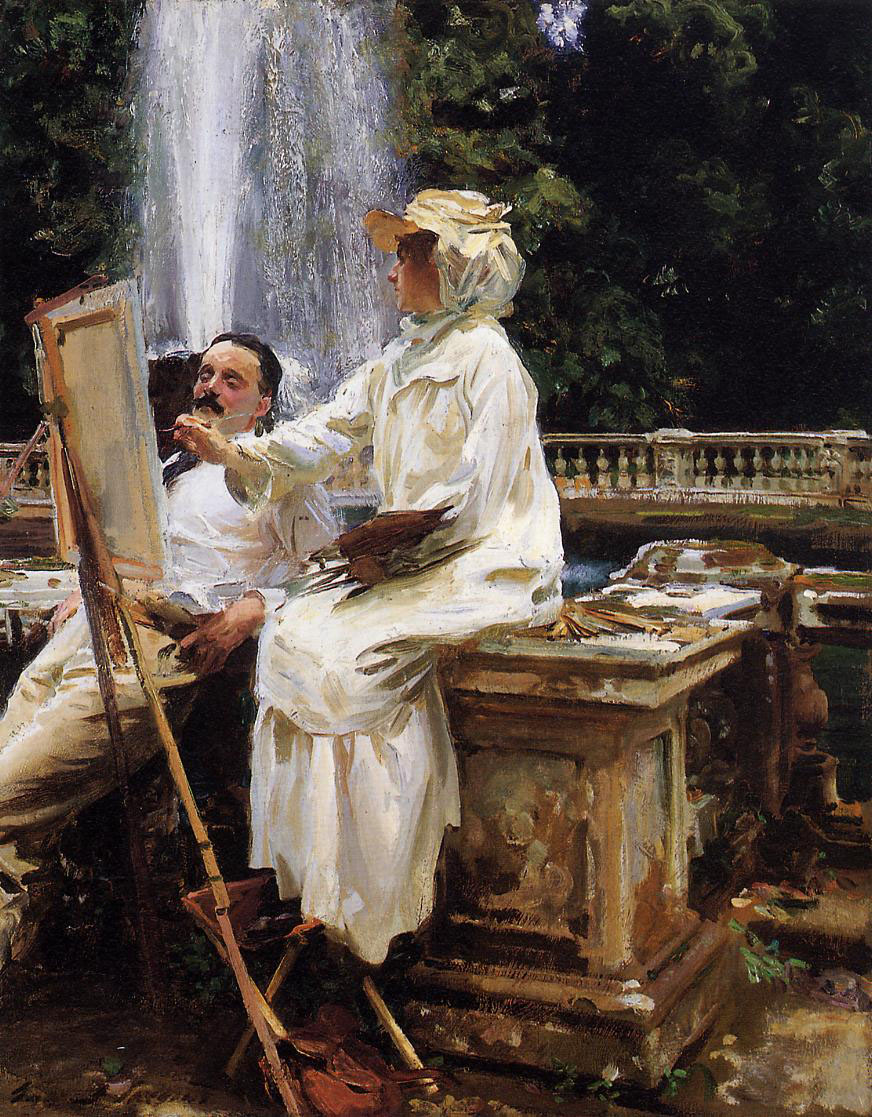 In The Fountain, Villa Torlonia, Frascati, Italy, John Singer Sargent simplifies his portraits by focusing on the structure of the head and not the details.