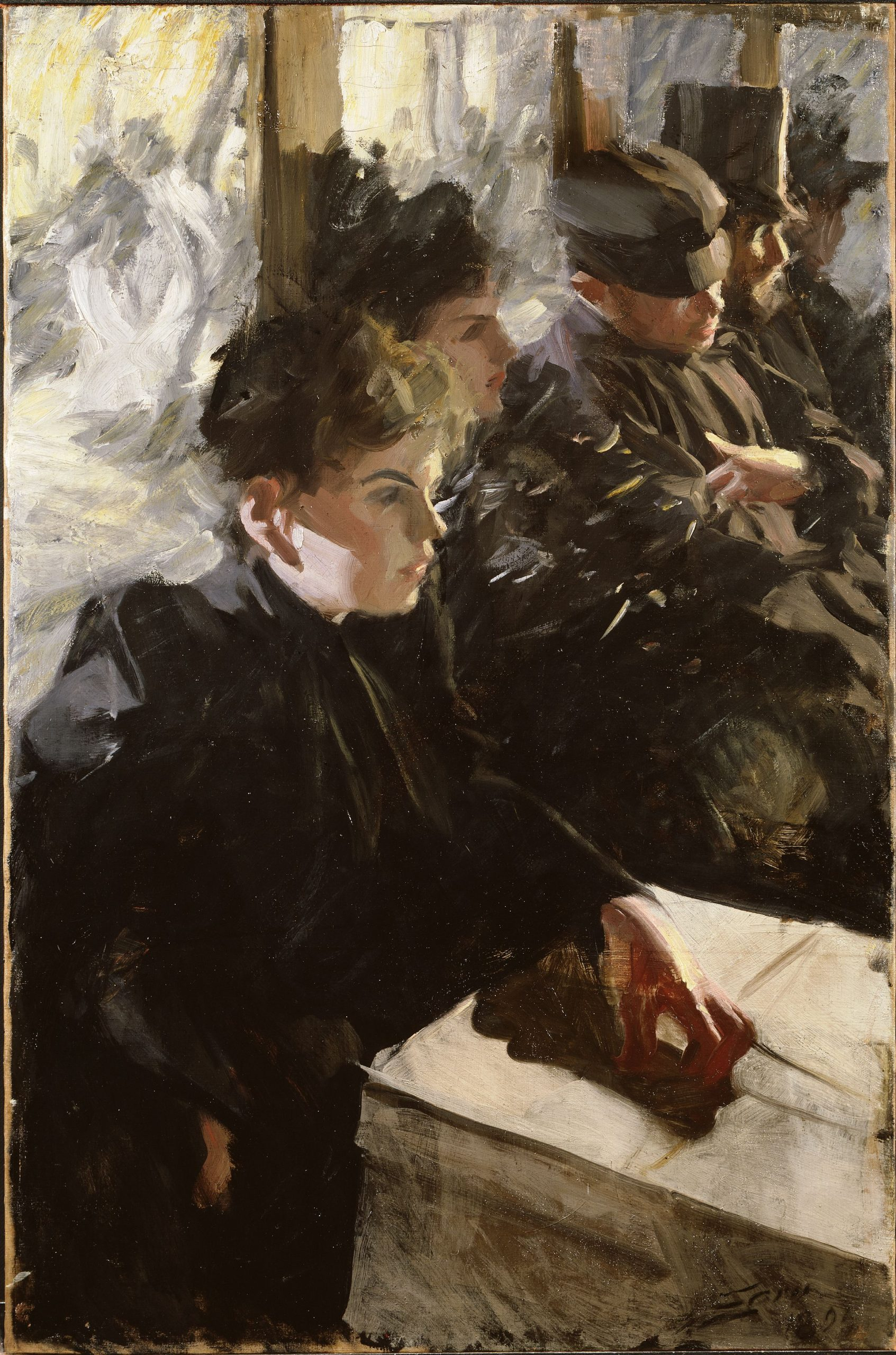 The vague facial features don't take away from this impressive portrait painting, Omnibus, by Anders Zorn.